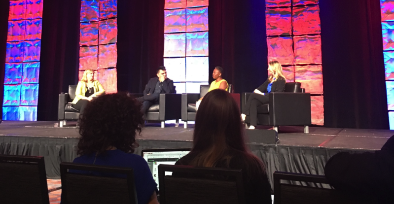 Caption: Keynote speakers Lisa Stone, Vanessa K. DeLuca, Jose Vargas and Alisa Miller. The keynote focused on what a bechdel test for news stories with diverse content would look like.