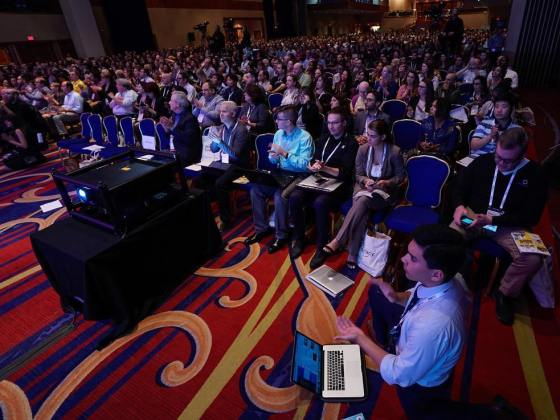 Sebastian Vega of the University of Southern California and the ONA Student Newsroom reported the opening session of the #ONA17 conference from in front of the front row. (Photo: Curt Chandler)