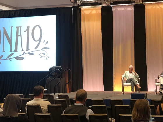 Gina McCarthy and Mark Schleifstein discuss how journalists should be covering climate change during a presentation at ONA19. Photo by Nisa Khan