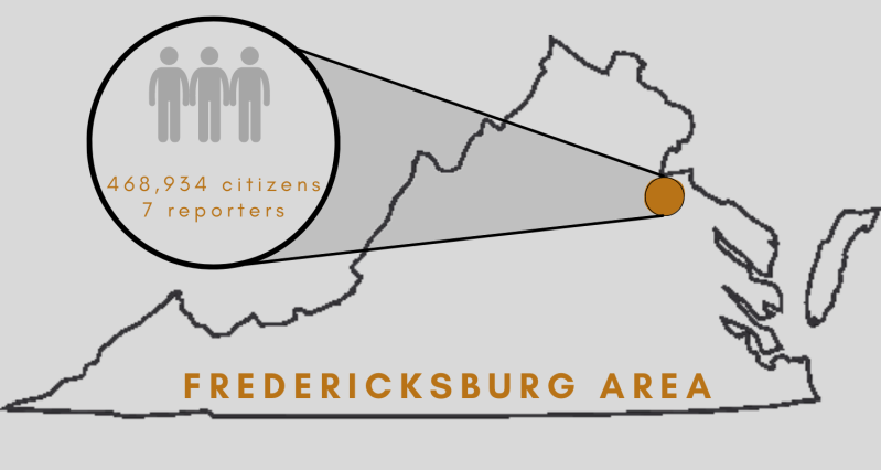 Graphic of location of Fredericksburg, Virginia
