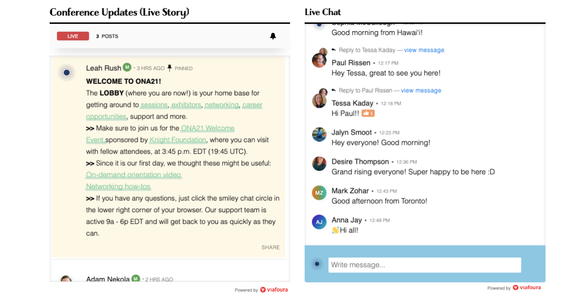 screenshot of the live chat function of the ONA21 experience