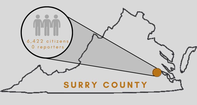 graphic of location of Surry County, Virginia